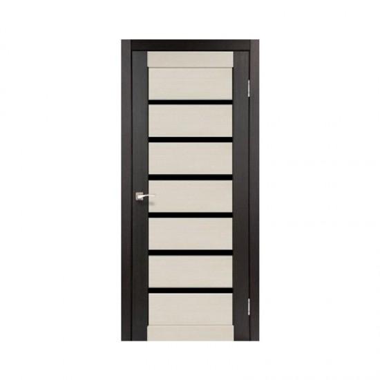 Дверь Porto PCD-01 с черным стеклом комбинированный Дуб беленый-Венге