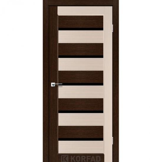 Дверь Porto PCD-05 с черным стеклом комбинированный Дуб беленый-Венге