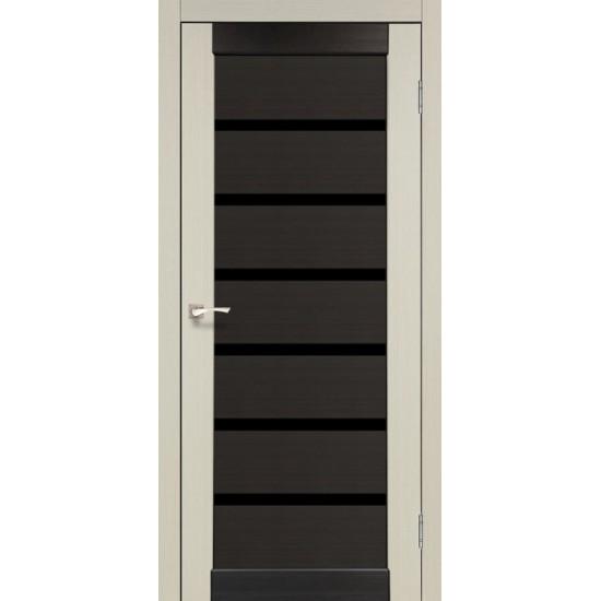 Дверь Porto PCD-02 с черным стеклом комбинированный Дуб беленый-Венге