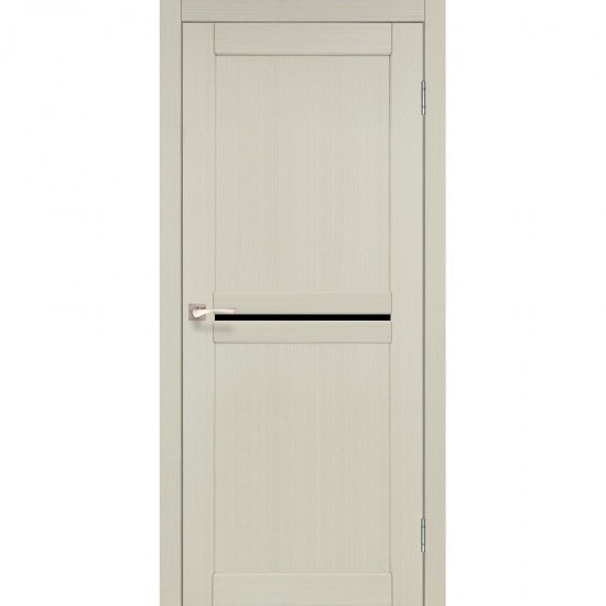 Дверь Milano ML-02 с черным стеклом Дуб беленый