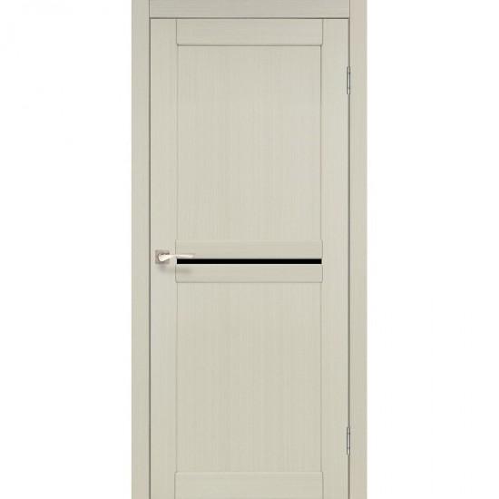 Дверь Milano ML-02 с черным стеклом Белый перламутр