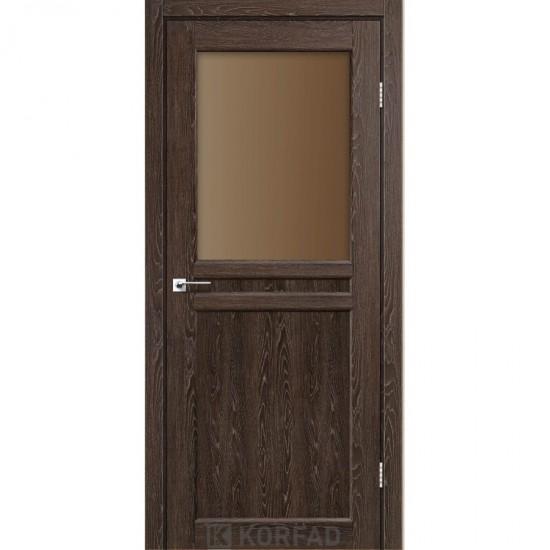 Дверь Milano ML-03 со стеклом бронза Дуб марсала
