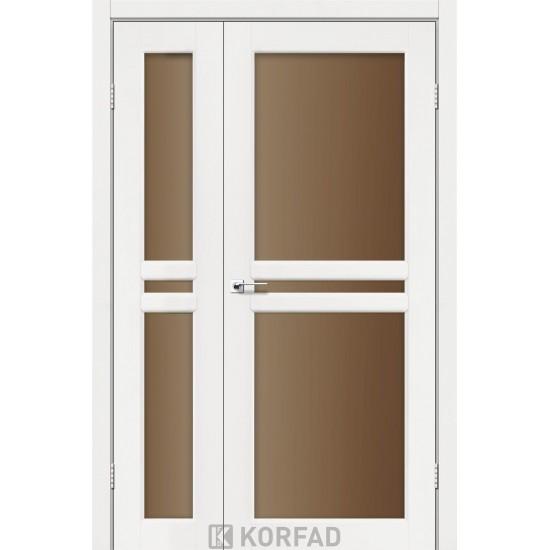 Дверь Milano ML-06 со стеклом бронза Белый перламутр