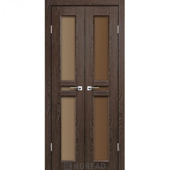 Дверь Milano ML-08 со стеклом бронза Дуб марсала