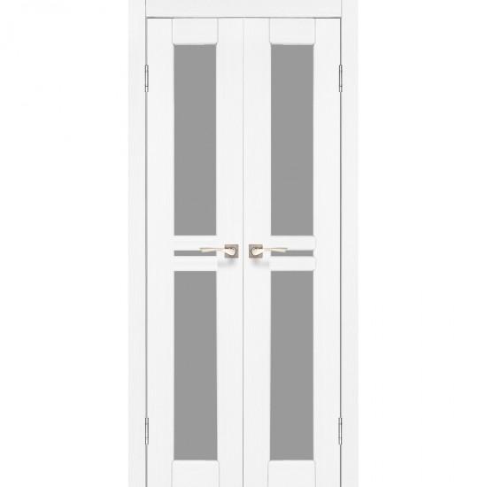 Дверь Milano ML-08 со стеклом бронза Белый перламутр