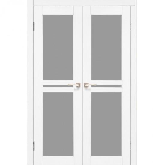 Дверь Milano ML-09 со стеклом бронза Белый перламутр