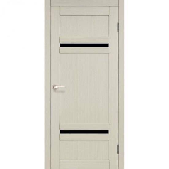 Дверь Tivoli TV-03 с черным стеклом Дуб беленый