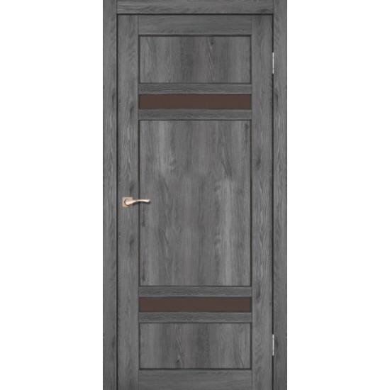 Дверь Tivoli TV-03 с черным стеклом Дуб марсала