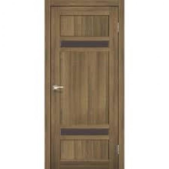 Дверь Tivoli TV-03 с черным стеклом Дуб браш