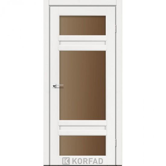 Дверь Tivoli TV-05 со стеклом бронза Белый перламутр