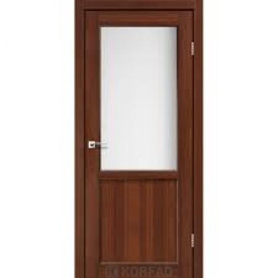 Дверь Palermo PL-02 со стеклом сатин Дуб тобакко