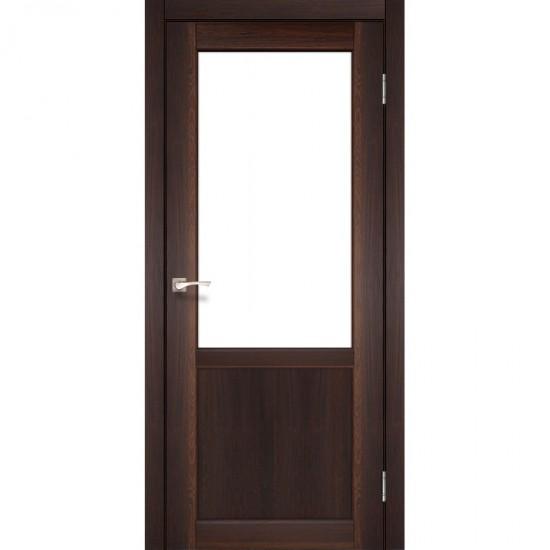 Дверь Palermo PL-02 со стеклом бронза Орех
