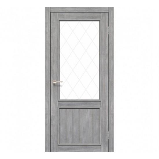 Дверь Palermo PL-02 со стеклом бронза Дуб марсала