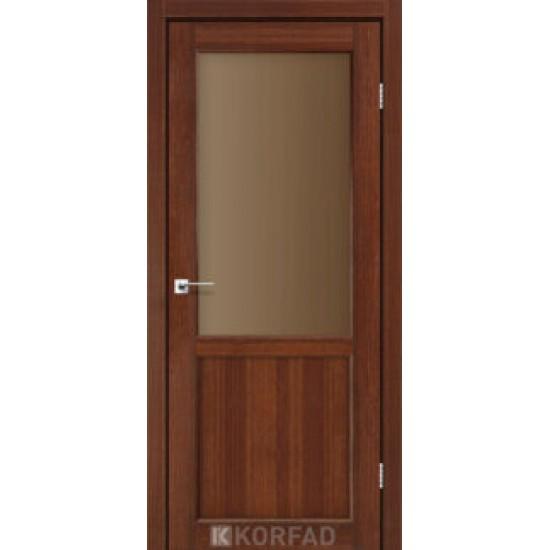 Дверь Palermo PL-02 со стеклом бронза Дуб тобакко