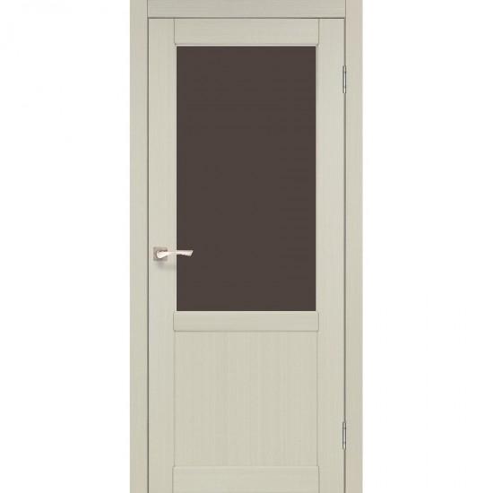 Дверь Palermo PL-02 со стеклом бронза Белый перламутр