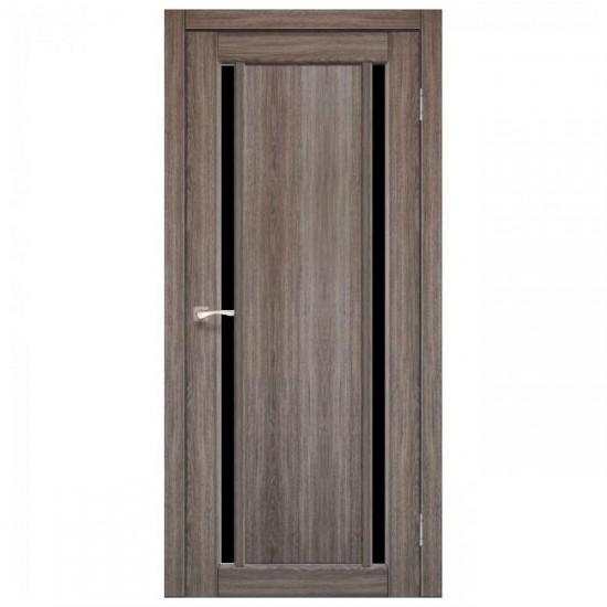 Дверь Oristano OR-02 с черным стеклом Дуб грей