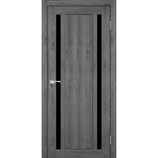 Дверь Oristano OR-02 с черным стеклом Эш-вайт