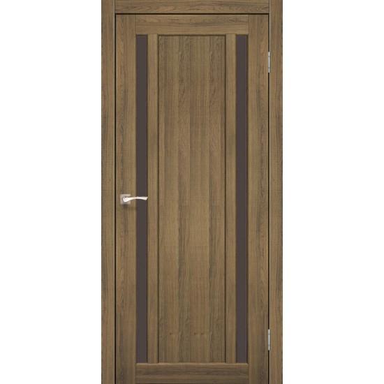 Дверь Oristano OR-02 с черным стеклом Дуб тобакко