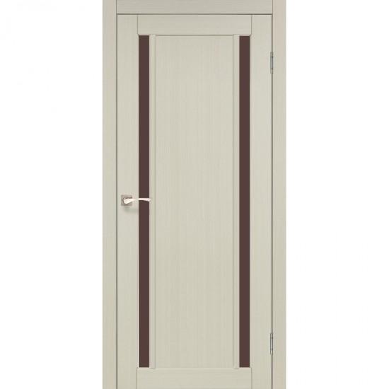 Дверь Oristano OR-02 с черным стеклом Белый перламутр
