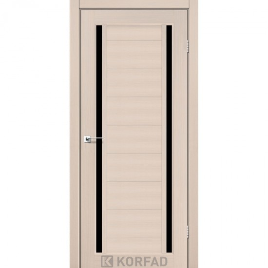 Дверь Oristano OR-04 с черным стеклом Дуб беленый
