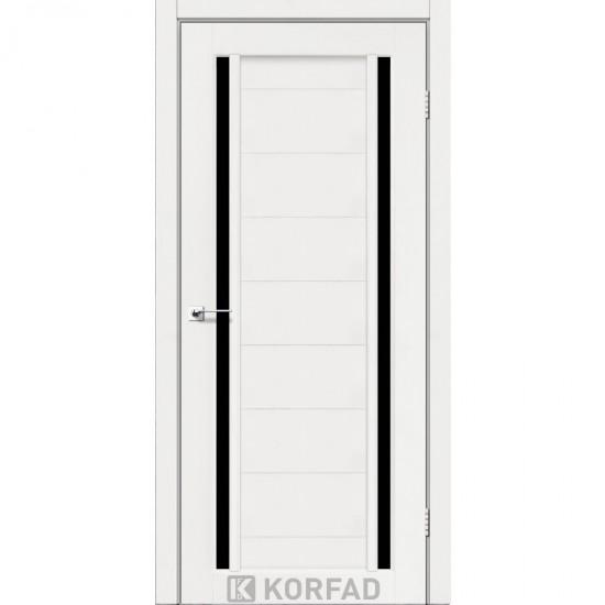 Дверь Oristano OR-04 с черным стеклом Ясень белый