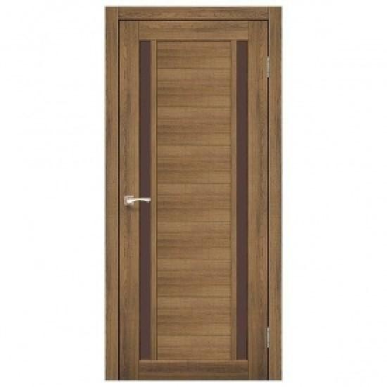 Дверь Oristano OR-04 с черным стеклом Дуб тобакко