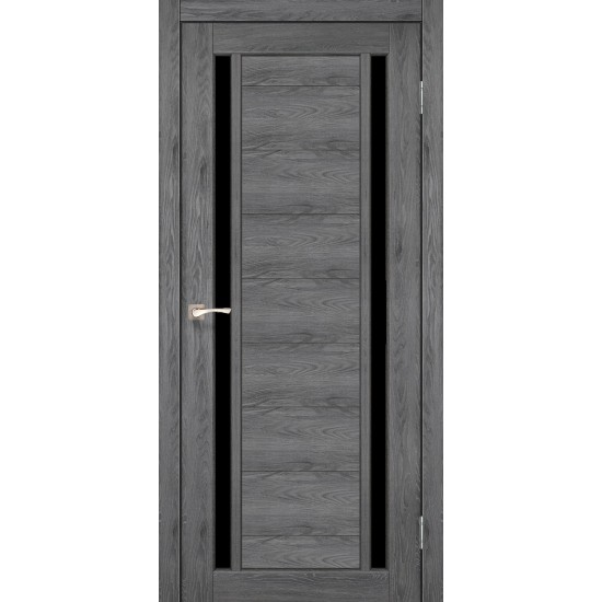 Дверь Oristano OR-04 с черным стеклом Лайт бетон
