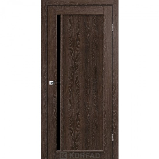 Дверь Oristano OR-06 с черным стеклом Орех