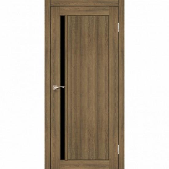 Дверь Oristano OR-06 с черным стеклом Дуб браш
