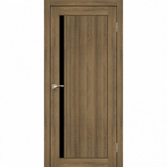 Дверь Oristano OR-06 с черным стеклом Дуб тобакко