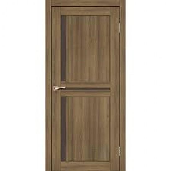 Дверь Scalea SC-02 с черным стеклом Дуб тобакко