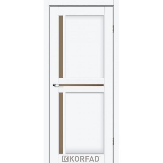 Дверь Scalea SC-02 с черным стеклом Белый перламутр