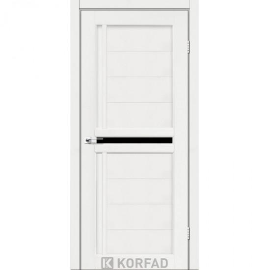 Дверь Scalea SC-03 с черным стеклом Ясень белый