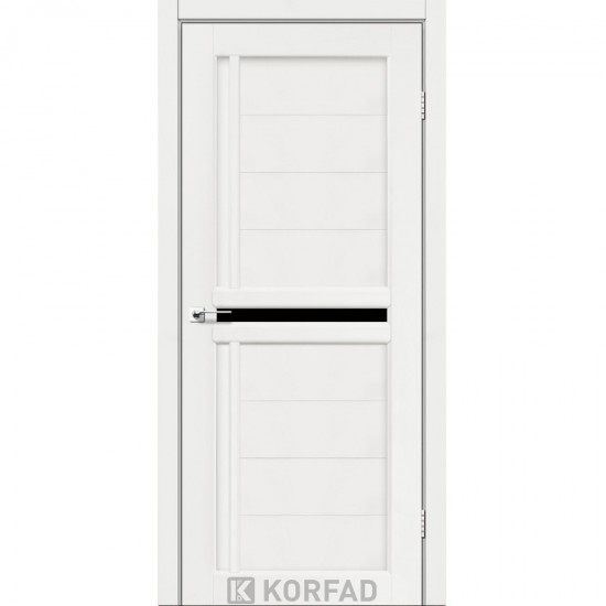 Дверь Scalea SC-03 с черным стеклом Белый перламутр