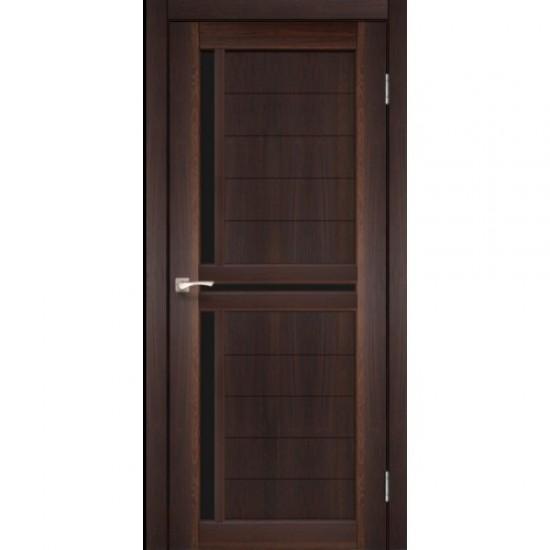 Дверь Scalea SC-04 с черным стеклом Орех