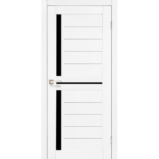 Дверь Scalea SC-04 с черным стеклом Ясень белый