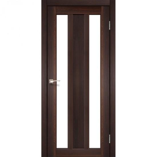 Дверь Napoli NP-01 со стеклом бронза Орех