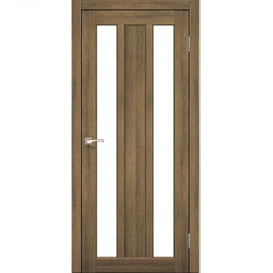 Дверь Napoli NP-01 со стеклом бронза Дуб тобакко