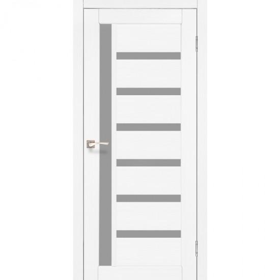 Дверь Valentino VL-01 со стеклом сатин Ясень белый