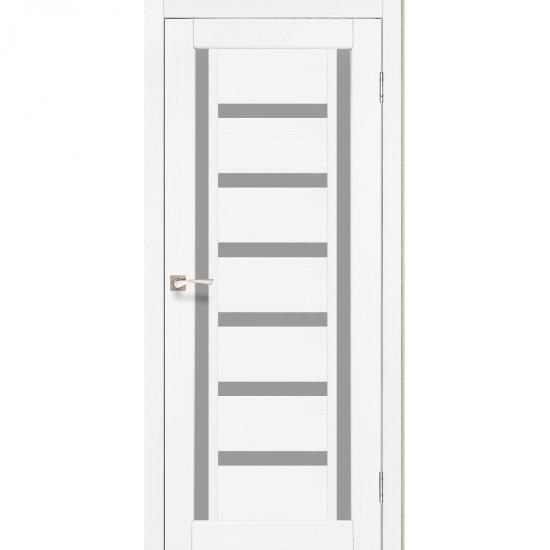 Дверь Valentino VL-02 со стеклом сатин Ясень белый