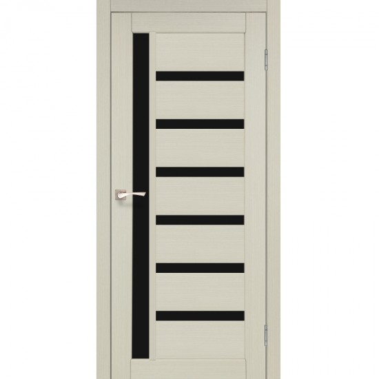 Дверь Valentino Deluxe VLD-01 с черным стеклом Дуб беленый