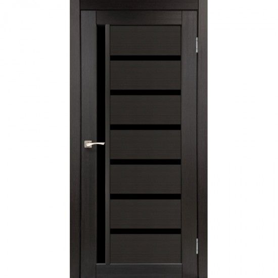 Дверь Valentino Deluxe VLD-01 с черным стеклом Венге