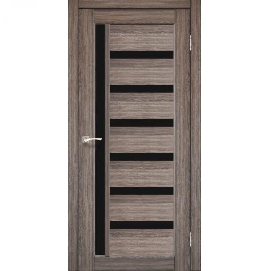 Дверь Valentino Deluxe VLD-01 с черным стеклом Дуб грей