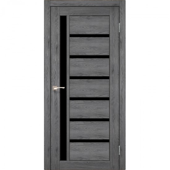 Дверь Valentino Deluxe VLD-01 с черным стеклом Дуб марсала