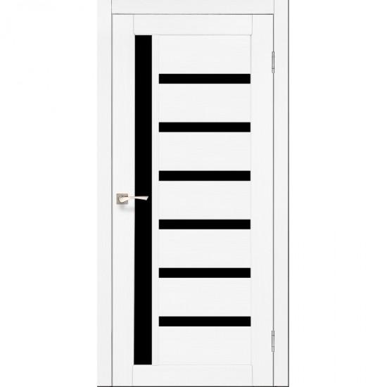 Дверь Valentino Deluxe VLD-01 с черным стеклом Ясень белый