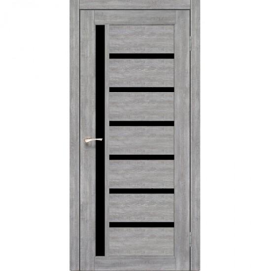 Дверь Valentino Deluxe VLD-01 с черным стеклом Эш-вайт