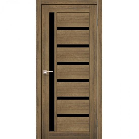 Дверь Valentino Deluxe VLD-01 с черным стеклом Сталь кортен