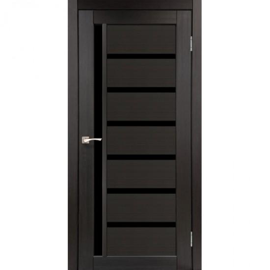 Дверь Valentino Deluxe VLD-01 с черным стеклом Арт бетон
