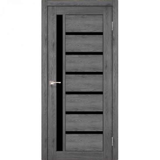 Дверь Valentino Deluxe VLD-01 с черным стеклом Лофт бетон