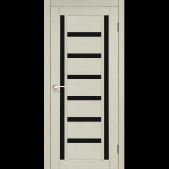 Дверь Valentino Deluxe VLD-02 с черным стеклом Дуб беленый
